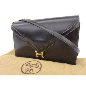 HERMES Hermes Lidi 2 way shoulder bag Bock scarf Brown J engraved clutch second [20190322]