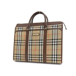 BURBERRY Burberry plaid business bag canvas leather brown hand tote documents [20190315]