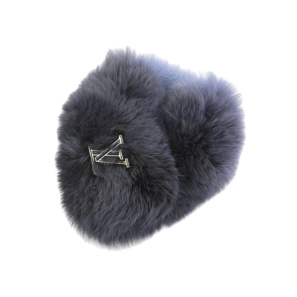 LOUIS VUITTON Louis Vuitton Gradation Furtipet Fox Fur Blue Navy Black Scarf [20190405]