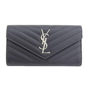 SAINT LAURENT Saint Laurent Monogram Long Bi-Fold Wallet Black YSL Flap
