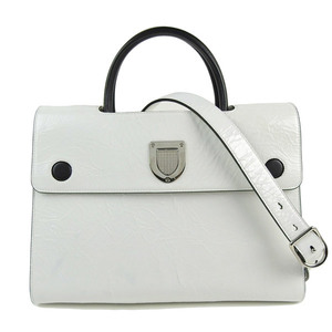Christian Dior CHRISTIAN DIOR 2WAY Handbag White Silver Hardware Women * BG