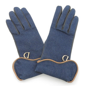 Dior Rare France Made Saddle Silhouette Denim x Leather Gloves