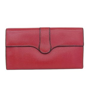 Valextra Leather Bi-Fold Wallet Purses Red Ladies