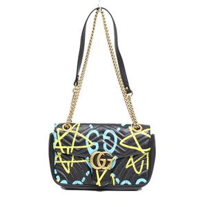c5260ca79443 Gucci GUCCI GG Marmont Ghost Line Chain Shoulder Bag 443497 Black Women. NS