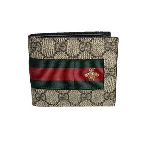 af58c3e8f20852 Gucci GUCCI GG Supreme Pifold Wallet 408827 Beige × Ebony Two-folded wallet  Men