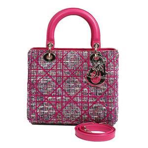 Christian Dior Lady Tweed Pink Handbag Ladies