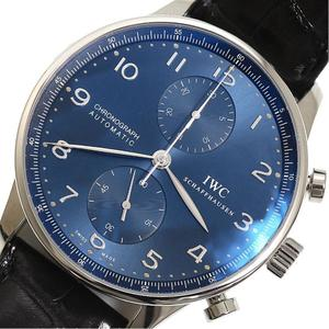 IWC Portugese Chronograph IW371491 Self-winding Blue Men's Leather Belt Watch