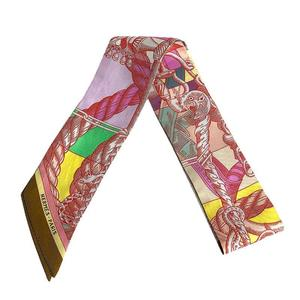 HERMES twilly 100% silk red multi-colored scarf ladies