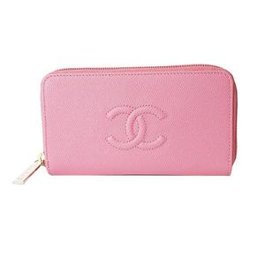 Chanel CHANEL Cocomark Small Wallet A80641 Caviar Skin Rose Pink Women