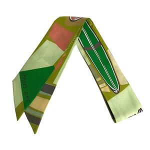 HERMES twilly 100% silk light green system multi color scarf ladies'