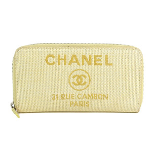 Genuine CHANEL Chanel Cocomark straw round zipper long wallet beige 22 series