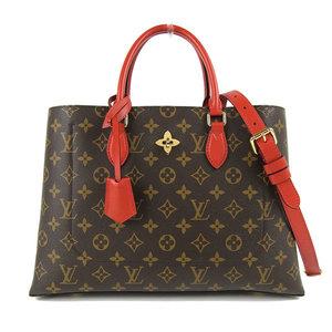 Genuine LOUIS VUITTON Louis Vuitton Monogram Flower 2way Tote Shoulder Bag Red Model: M43553 Leather