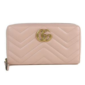 a7f1d1362eab Genuine GUCCI Gucci GG Marmont Round Zip Long Wallet Pink 443123 Purse  Leather