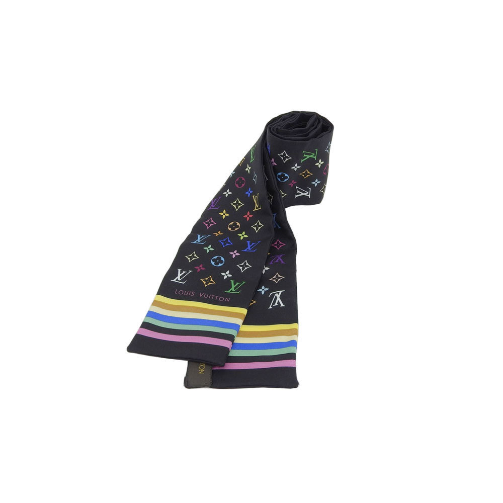 Genuine LOUIS VUITTON Louis Vuitton silk twill scarf black multicolor