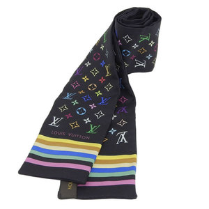 Genuine LOUIS VUITTON Louis Vuitton silk twill scarf black multicolor