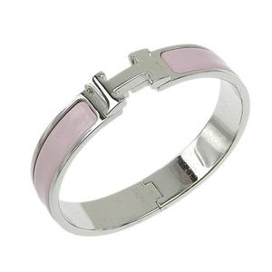 Genuine HERMES Hermes Click crack bangle Pink series × Silver