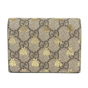 11f4b94a759cd1 Genuine GUCCI Gucci GG Supreme Bee Bi-fold Wallet Beige Purse Leather