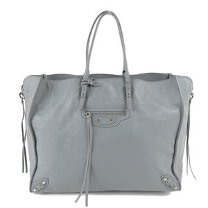 Genuine BALENCIA GA Balenciaga Leather Paper Tote Bag Gray