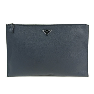 Genuine PRADA Prada Safiano Clutch Bag Navy Model: 2NG001 Leather