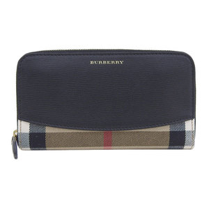Genuine BURBERRY Burberry leather plaid round zipper wallet Purse