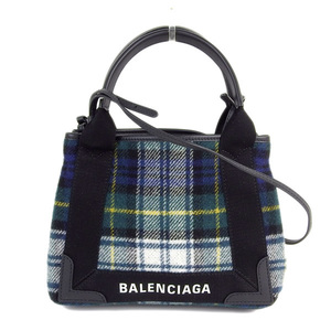 Genuine BALENCIA GA Balenciaga Wool Navy Hippo 2WAY handbag shoulder green 390346 bag leather
