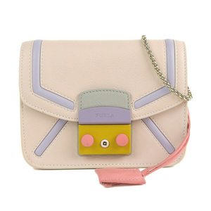 Genuine FURLA Furla Metropolis Shoulder Bag Pastel Multicolor Leather