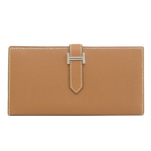 HERMES Hermes Beansfre Vaux Epson Two-folded long wallet Silver hardware Gold T stamped leather