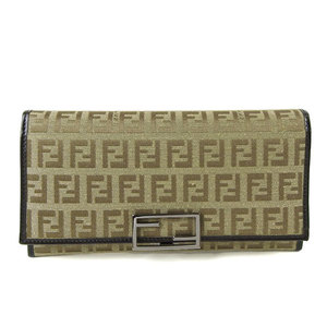 Genuine FENDI Fendi Zucca Canvas Leather Folded Purse Beige