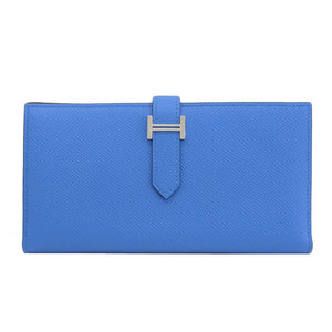 HERMES Hermes Beansfre Vaud Epson Folded Long Wallet Silver Hardware Blue Zan Pal A Engraved Leather