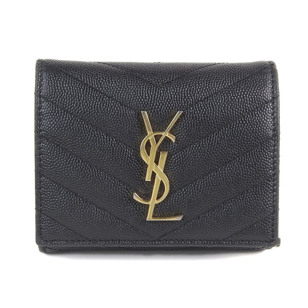 e0f002b1c3f Auth Yves Saint Laurent Leather Wallet Black | eBay