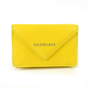 Genuine BALENCIA GA Balenciaga Leather Paper Mini Wallet Purse Yellow 391446