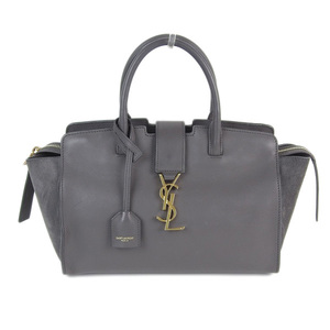 Genuine SAINT LAURENT Saint Laurent Downtown Cabas Leather 2WAY Bag Gray GNR436834
