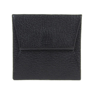 Genuine HERMES Hermes Bastia Leather Coin Case Purse Black