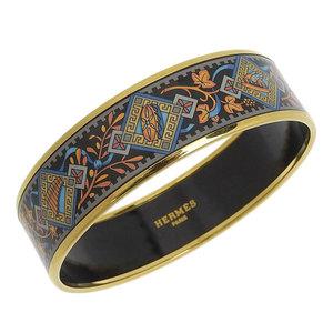 Genuine HERMES Emeiyu bangle cloisonne thick black Indian pattern