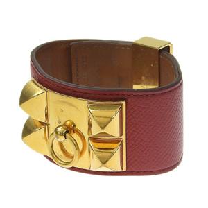 Genuine HERMES Hermes Vaux Epson Cory Ed Bless bracelet Red Gold hardware T stamp
