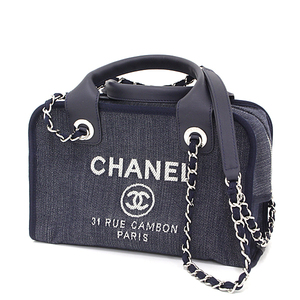 CHANEL Deville Bowling Denim Canvas Leather Navy Silver hardware A92749 2WAY mini shoulder bag