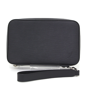 Louis Vuitton LOUIS VUITTON Dundee Wallet Epi Black M64000 Round Fastener Travel Clutch Organizer