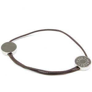 HERMES Serie Bracelet Cotton Cord Stainless Steel Silver Brown 18.5-23.5 cm