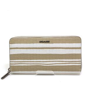 COACH Coach Round zipper wallet beige × white calf leather