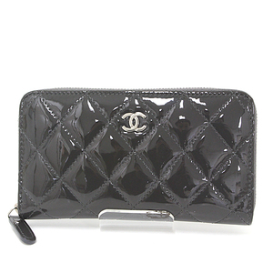 CHANEL Small Zip Wallet Matrasse Patent Leather Gray Serial Seal Available Round Fastener