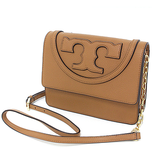Tory Burch TORY BURCH leather shoulder bag light brown gold hardware cross body chain