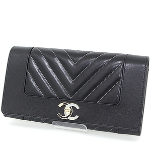 CHANEL long flap wallet black light gold (black blue) metal fittings sheepskin A80971 two fold