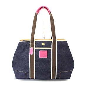 COACH canvas tote bag 4499 navy x beige white pink A rank