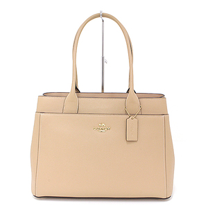 COACH Cross grain leather Casey tote outlet beige F31474 bag