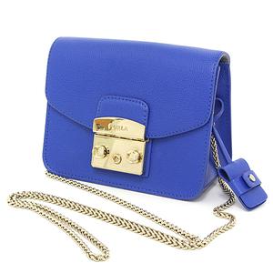 Furura FURLA METROPOLIS Metropolis S Crossbody Leather Blue Gold Hardware Mini Shoulder Bag Chain Clutch
