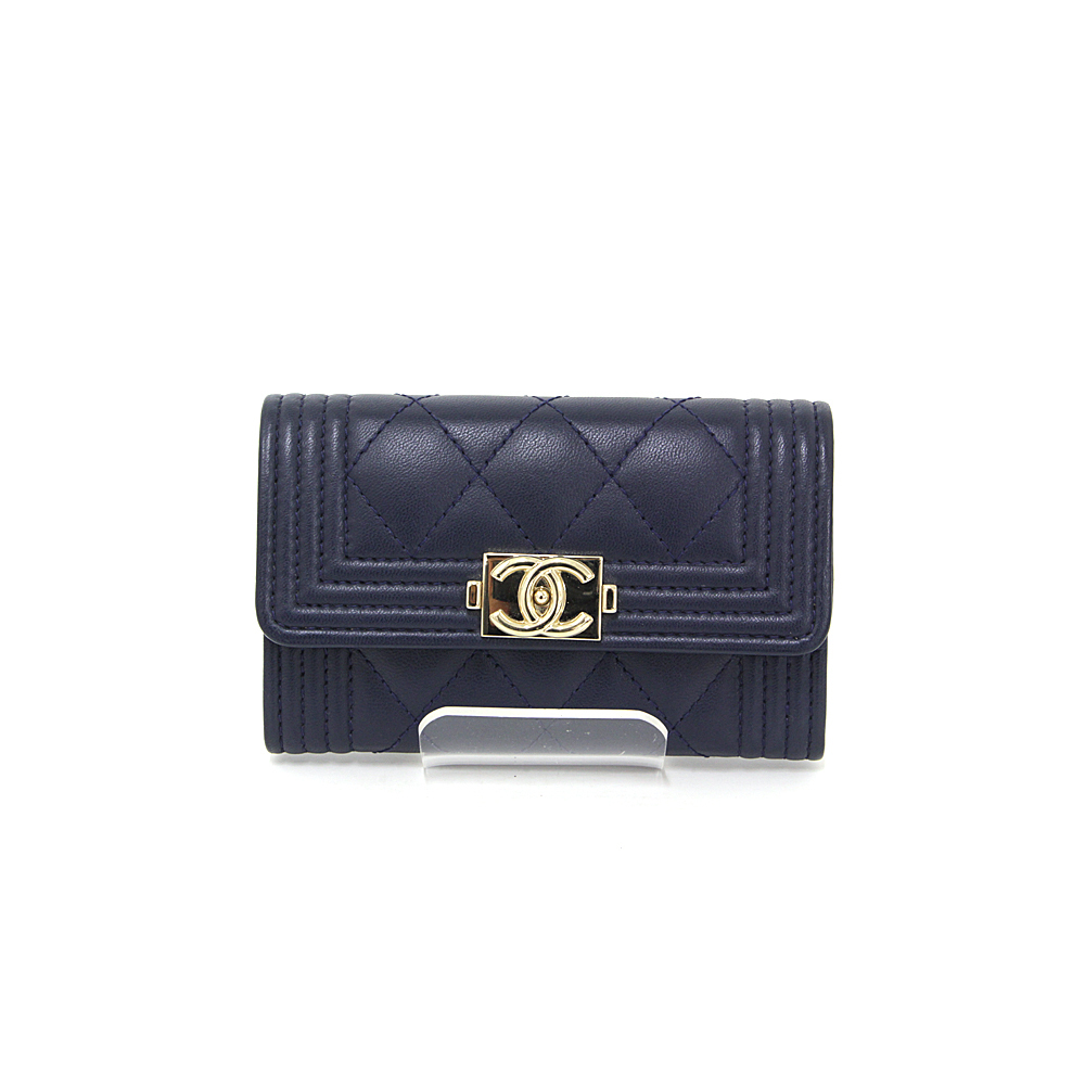 18170c715fc Chanel CHANEL BOY Boy Flap Card Case Lambskin Quilted Navy Gold Hardware  Business Holder
