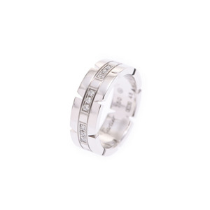 Cartier Tank Francaise ring SM # 48 Ladies WG / Diamond 8.2 g Ring A rank CARTIER Box Gallery Used Ginzo