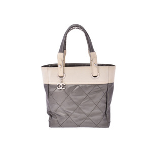0dbc1786befc Chanel Paris Biarritz Tote bag PM white / metallic gray SV bracket Women's  B rank CHANEL
