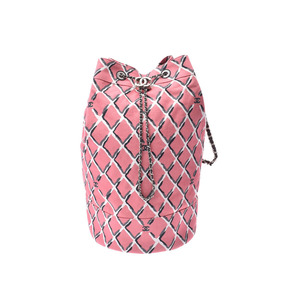 Chanel Coco Beach Collection Pink SV Bracket Women's Canvas One-Shoulder Bag A Rank Beauty Product CHANEL Used Ginzo