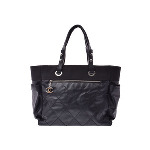Chanel Paris Biarritz GM Tote Bag Black Ladies Leather / Canvas CHANEL Pouch Used Ginzo